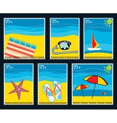 Summer postage stamps vector