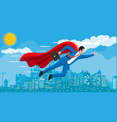 superhero businessman flying over cityscape in sky vector image