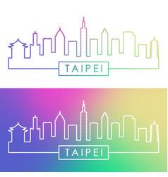taipei skyline colorful linear style editable vector image