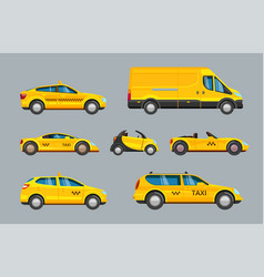 taxi cars collection service yellow cab vector image