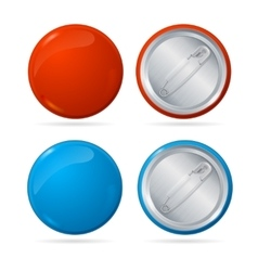 Template Color Blank Circle Button Badge Pin Set vector