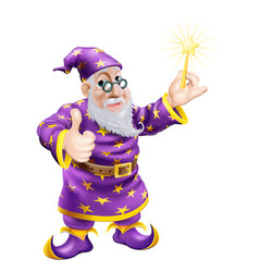 thumbs up wizard with wand vector image