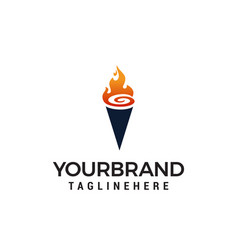 torch logo design concept template vector image