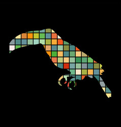 toucan bird mosaic color silhouette animal vector image