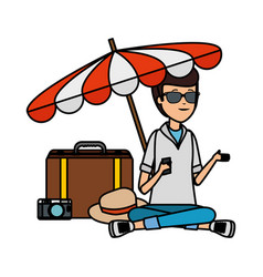 tourist man with suitcase and umbrella vector image