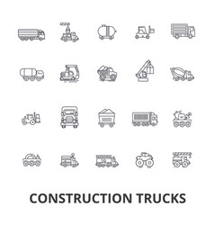 trucks construction equipment crane cement vector image