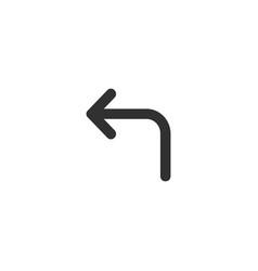 Turn left arrow icon black isolated on white vector