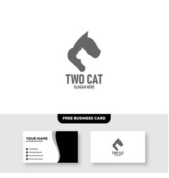 Two cat logo template free business card vector