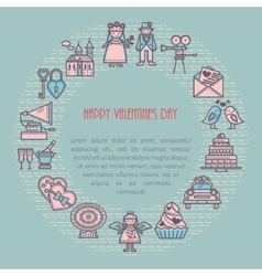 Valentine s Day frame linear icons vector image