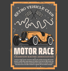 vintage racing car with auto motor sport flags vector image