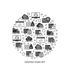 web hosting services icons set vector image