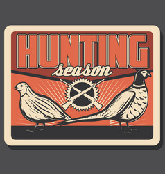 Wild pheasant and partridge on hunting poster vector