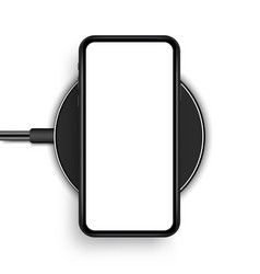 Wireless charger with smartphone isolated vector