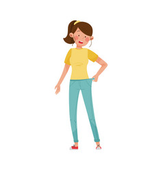 Woman character standing with loose fitting jeans vector