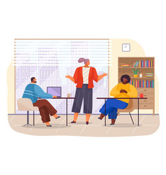 workers in office with panoramic window young vector image