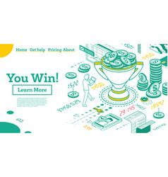 You win trophy cup with dollar coins inside vector