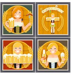 autumn sausage beer mug oktoberfest girl character vector image vector image