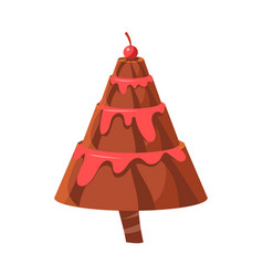 chocolate cake fir tree colorful cartoon vector image vector image