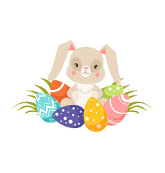 easter bunny with colorful eggs funny rabbit vector image vector image