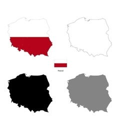 Poland country black silhouette and with flag on vector image vector image
