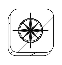 square silhouette button with compass rose vector image