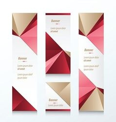 Triangle Vertical Banner Brown Pink Red vector image