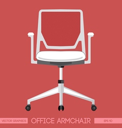 White modern office armchair over red background D vector image vector image