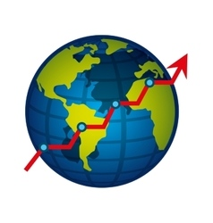 world planet with statistical graphic vector image