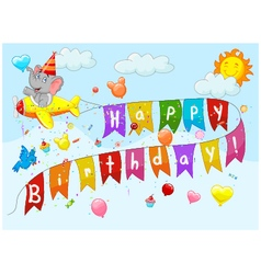 Birthday background with elephant on plane vector image vector image
