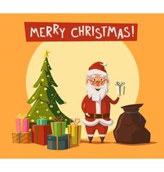 Funny Santa Claus and Christmas tree Cartoon vector image