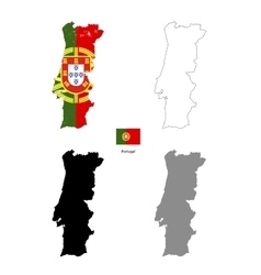 Portugal country black silhouette and with flag on vector image vector image