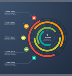 presentation infographic circle chart with 5 vector image