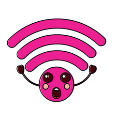 Suprised wifi kawaii icon image vector