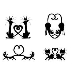 black love heart cat couples set vector image