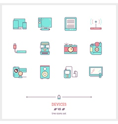 DEVICES Line Icons Set vector image