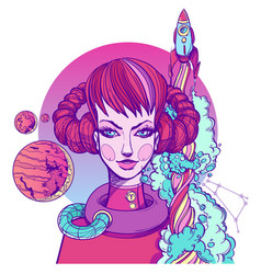 girl symbolizes the zodiac sign aries pastel goth vector image vector image