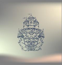 hand drawn cartoon fairy tale castle icon vector image