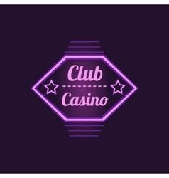 Club Casino Purple Neon Sign vector image vector image