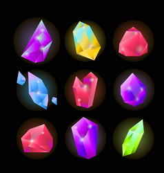 crystals or gemstones and precious gem stones vector image vector image