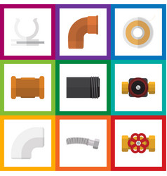 flat icon industry set of pump valve pipe vector image