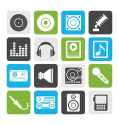 Flat music and sound icons vector