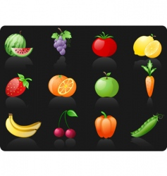 fruit and vegetables background vector image vector image