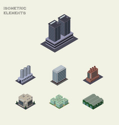 isometric architecture set of warehouse tower vector image