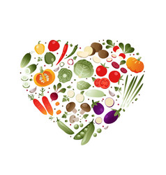 vegetables in shape of heart vector image vector image