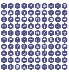 100 bridge icons hexagon purple vector