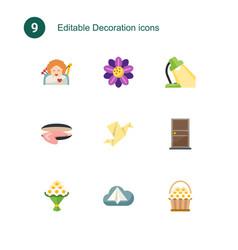 9 decoration flat icons set isolated on icons vector image