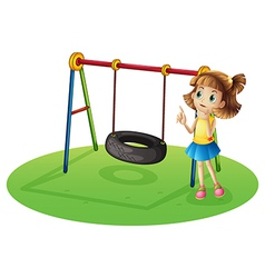 A girl thinking beside a swing vector