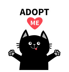 adopt me black cat face silhouette reds heart pet vector image