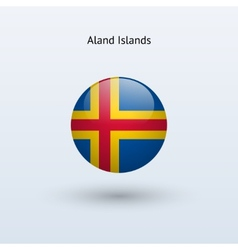 Aland Islands round flag vector