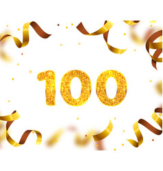 anniversary banner 100th gold ribbon fly vector image